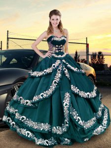 Peacock Green Lace Up Sweetheart Embroidery and Ruffled Layers Quinceanera Gowns Satin Sleeveless