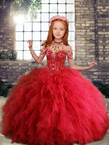 Red Ball Gowns Scoop Sleeveless Tulle Floor Length Lace Up Ruffles Child Pageant Dress