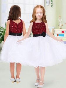 Admirable White Zipper Flower Girl Dress Sequins and Hand Made Flower Sleeveless Knee Length