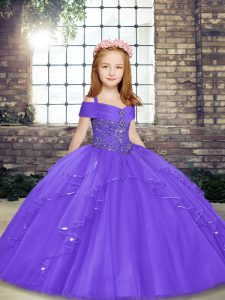 Simple Straps Sleeveless Lace Up Kids Formal Wear Lavender Tulle