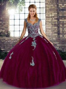 Fuchsia Ball Gowns Straps Sleeveless Tulle Floor Length Lace Up Beading and Appliques Quinceanera Dress