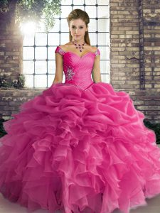 Hot Pink Off The Shoulder Lace Up Beading and Ruffles and Pick Ups Quince Ball Gowns Sleeveless
