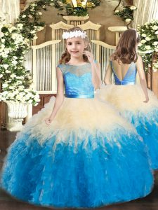 High Class Multi-color Sleeveless Lace and Ruffles Floor Length Winning Pageant Gowns
