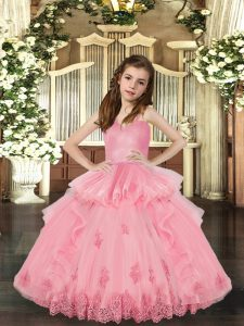 Sleeveless Lace Up Floor Length Lace and Appliques Little Girls Pageant Dress