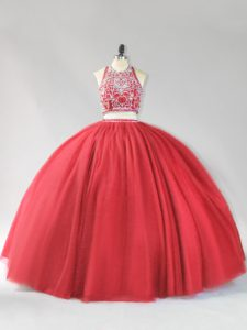 Tulle Halter Top Sleeveless Backless Beading Quinceanera Dresses in Red