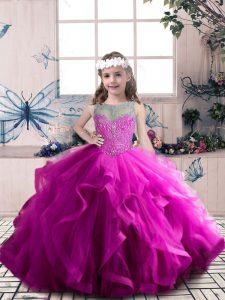 Fashionable Scoop Sleeveless Lace Up Little Girl Pageant Gowns Fuchsia Tulle