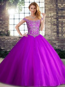 Sweet Purple Tulle Lace Up Quinceanera Dress Sleeveless Brush Train Beading