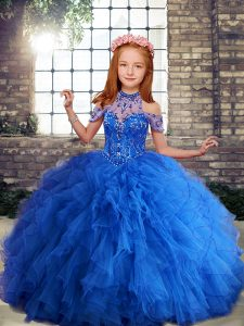 Blue Ball Gowns Beading and Ruffles Girls Pageant Dresses Lace Up Tulle Sleeveless Floor Length
