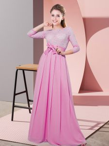 High Class 3 4 Length Sleeve Floor Length Lace and Belt Side Zipper Dama Dress for Quinceanera with Rose Pink