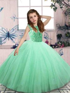 Trendy Sleeveless Beading Lace Up Little Girls Pageant Gowns