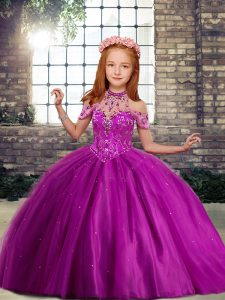 Amazing Beading Little Girl Pageant Gowns Fuchsia Lace Up Sleeveless Floor Length
