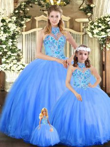 Tulle Halter Top Sleeveless Lace Up Embroidery 15th Birthday Dress in Blue