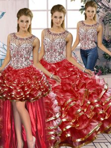 Spectacular Scoop Sleeveless Lace Up Quinceanera Gown Red Organza