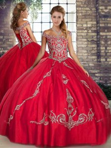 Amazing Floor Length Red Quinceanera Gown Off The Shoulder Sleeveless Lace Up