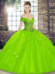 Off The Shoulder Sleeveless Lace Up Sweet 16 Quinceanera Dress Tulle