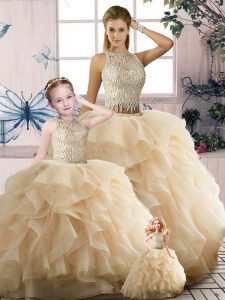 Floor Length Champagne Quince Ball Gowns Tulle Sleeveless Beading and Ruffles