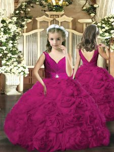 Dramatic V-neck Sleeveless Fabric With Rolling Flowers Kids Formal Wear Beading Backless