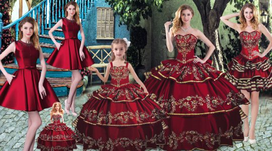 Wine Red Sleeveless Organza Lace Up Quinceanera Dresses for Sweet 16 and Quinceanera