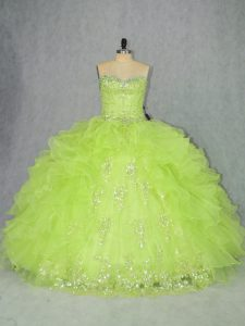 Yellow Green Sweetheart Neckline Beading and Ruffles Ball Gown Prom Dress Sleeveless Lace Up