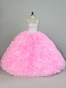 Inexpensive Floor Length Lace Up 15 Quinceanera Dress Baby Pink for Sweet 16 and Quinceanera with Beading and Ruffles