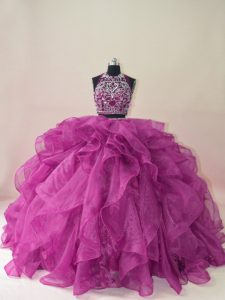 Brush Train Ball Gowns Sweet 16 Dress Fuchsia Scoop Organza Sleeveless Backless
