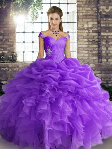 Fitting Organza Off The Shoulder Sleeveless Lace Up Beading and Ruffles and Pick Ups Quince Ball Gowns in Lavender