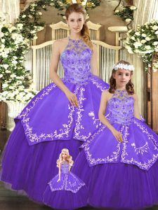 Dramatic Purple Halter Top Neckline Beading and Embroidery Sweet 16 Quinceanera Dress Sleeveless Lace Up
