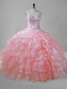 Superior Sleeveless Organza Floor Length Lace Up Quinceanera Dress in Pink with Beading and Ruffled Layers