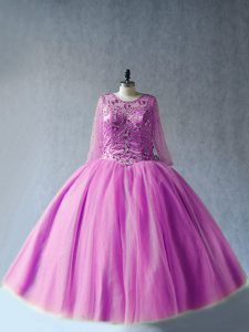 Captivating Lilac Long Sleeves Beading Floor Length Quinceanera Dress