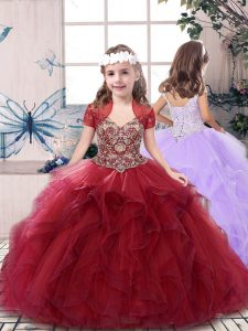 Red Straps Neckline Beading Child Pageant Dress Sleeveless Lace Up
