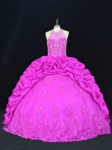 Sleeveless Taffeta Floor Length Lace Up Ball Gown Prom Dress in Fuchsia with Beading and Appliques and Pick Ups