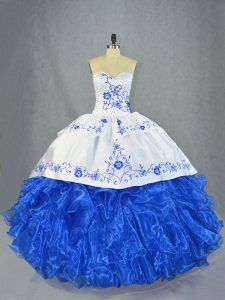 Noble Blue And White Sweetheart Lace Up Beading and Embroidery and Ruffles Quinceanera Gowns Brush Train Sleeveless