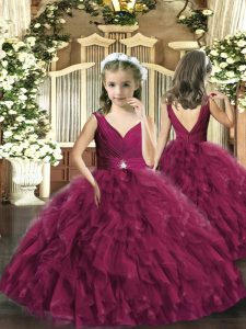 Gorgeous Beading and Ruffles Custom Made Pageant Dress Burgundy Backless Sleeveless Floor Length