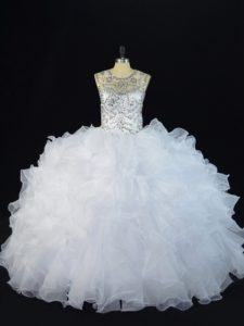 White Ball Gowns Scoop Sleeveless Organza Floor Length Lace Up Beading and Ruffles Sweet 16 Dresses