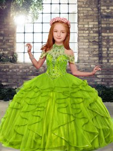 Perfect Tulle Lace Up High-neck Sleeveless Floor Length Little Girl Pageant Dress Beading and Ruffles