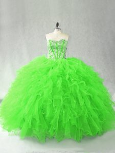 Adorable Sweet 16 Quinceanera Dress Sweet 16 and Quinceanera with Beading and Ruffles Sweetheart Sleeveless Lace Up