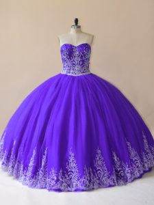 Sweetheart Sleeveless Tulle 15 Quinceanera Dress Embroidery Lace Up