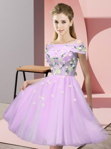 Modern Lilac Off The Shoulder Lace Up Appliques Dama Dress for Quinceanera Short Sleeves