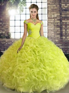 Yellow Green Fabric With Rolling Flowers Lace Up 15 Quinceanera Dress Sleeveless Floor Length Beading