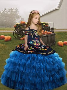 Blue Straps Neckline Embroidery and Ruffled Layers Little Girls Pageant Gowns Sleeveless Lace Up