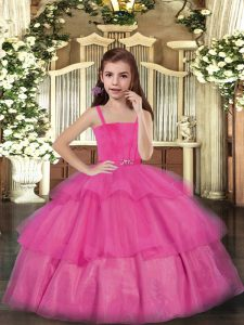 Cute Hot Pink Lace Up Pageant Dress for Teens Ruffled Layers Sleeveless Floor Length