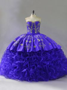 Top Selling Floor Length Lace Up Sweet 16 Quinceanera Dress Purple for Sweet 16 and Quinceanera with Embroidery and Ruffles Brush Train