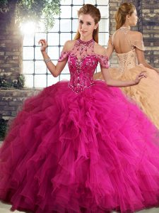 Exquisite Floor Length Fuchsia Quinceanera Gowns Tulle Sleeveless Beading and Ruffles