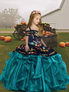 Floor Length Ball Gowns Sleeveless Teal Kids Formal Wear Lace Up