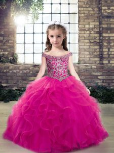 Off The Shoulder Sleeveless Pageant Dress Toddler Floor Length Beading and Ruffles Fuchsia Tulle