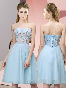 On Sale Light Blue Empire Sweetheart Sleeveless Tulle Knee Length Lace Up Appliques Court Dresses for Sweet 16