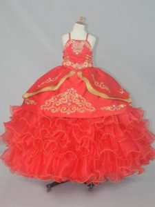 Straps Sleeveless Kids Pageant Dress Floor Length Embroidery and Ruffled Layers Red Organza