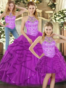 Purple Tulle Lace Up 15th Birthday Dress Sleeveless Beading and Ruffles