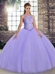 Lavender Sleeveless Floor Length Embroidery Lace Up Quince Ball Gowns