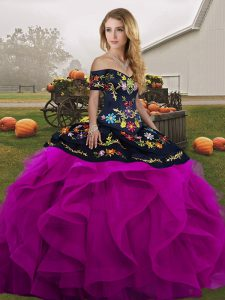 Lovely Off The Shoulder Sleeveless Tulle Quinceanera Dress Embroidery and Ruffles Lace Up